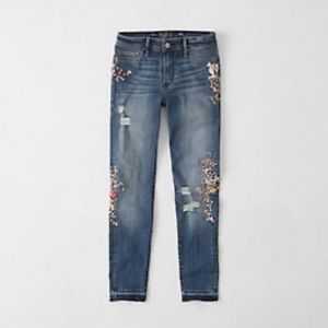 Abercrombie&Fitch Embroidered Low-Rise Ankle Jeans